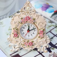 bell rose watch - 2015 Sale New Wave Movement Wall Clock Alarm Clock Desk Fashion Rose And Watch Vintage Princess Bedside Bell