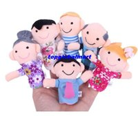 Cheap Free Shipping 6pcs lot Finger Plush Puppet Happy Family Story Telling Dolls Support Children Baby Educational Toys Wholesale
