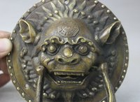 ancient chinese umbrellas - Chinese Ancient Dynasty Feng Shui Bronze Foo Fu Dog Lion Head Door Knockers