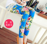 Wholesale pc retail baby girl s cotton white navy blue yellow red pink green flower leggings