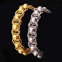 achat en gros de bracelets bijoux uniques-U7 Bracelet en or 18K Stamp Noir Gun / Platinum / 18K réel plaqué or 21 cm Chain Link Round Unique Bracelets Bijoux pour hommes
