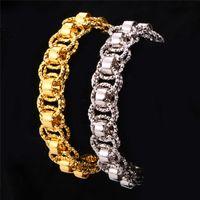 achat en gros de bracelets bijoux uniques-U7 Or Bracelet Avec 18K Timbre Noir Gun / Platine / 18K Real Gold Plaqué 21 cm Unique Round Link Chaîne Bracelets Hommes Bijoux