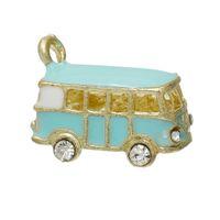 "Cheap Charm Pendants Car Gold Plated Mint Green Clear Rhinestone Enamel 19mm(6 8"")x 14mm(4 8""),5 PCs 2015 new"