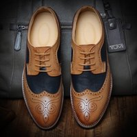 Wholesale Italian Fashion British Style Quality Vintage Leather Carved Brogues Oxfords Mens Party Business Dress Shoes Mixed Color Hand Sewing Lace Up