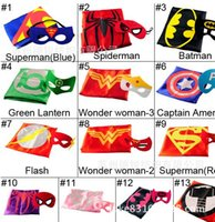 Wholesale Superman Spiderman Batman Green Lantern Wonder Woman Flash Captain America Iron man Robin Thor kids Christmas Halloween cape Y25305