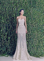 Wholesale Nude See Through Lace Wedding Dresses Spring Zuhair Muard Wedding Dresses Strapless Appliques Floor Length Mermaid Wedding Dresses LA