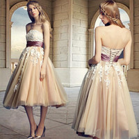 Wholesale 2016 Strapless Champagne Modern Prom Party Dresses Lace Appliques Ruffles Knee Length Formal Dresses Evening Graduation Satin Belt Gowns