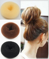 Wholesale New Womens Girls Hair Donut Bun Ring Shaper Styler Maker Black Beige Coffee size cm cm hair accessories Pony Tails Holder