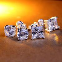 Wholesale 7mm CZ Diamond Earrings for Women Men Jewelry Cool Men Stud Earrings Vintage Women Earrings Couples A38
