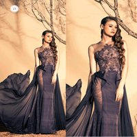 Cheap Delicate Puffy Prom Dresses 2015 Ziad nakad Crew Neckline Appliques Beading Sequins Embroidery Chiffon Floor Length Evening Dresses Dhyz 01