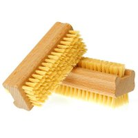 bath trim - Double Sided Nail Art Trimming Bristle Brush Manicure Files Pedicure Cleaning Scrubbing Nail Bath Wooden Brush Tool