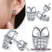 Wholesale Hot New Owl Shaped Women Stud Earring with Silver Plated Shiny Rhinestones
