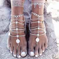 Wholesale Bohemian vintage silver multilayer coin flower charms anklet bracelets women foot jewelry