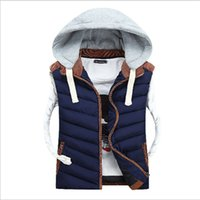 fashion hat - Men Hooded Vests Mens Winter Coats Fashion Casual Sleeveless Cotton Vest Loose Stripe Contrast Color Thick Lovers Vests Outerwear