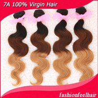 Wholesale 3pcs g pc Tone Color Mixed Length Brazilian remy hair weave weft Ombre Hair Extensions hair weaving