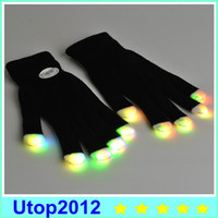 0-12M auto racing gloves - 20 pairs LED Gloves Flashing Gloves LED Light Up Rave Glove Glow Light Glow Finger Gloves party