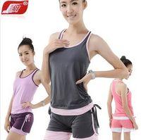 Wholesale NEW dance clothes yoga clothing suit female fitness yoga clothes M L XL violet gray pink
