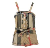 khaki shorts - 2015 New Hot kids summer clothes hot selling girls cotton jumpsuit girls fashion khaki siamese shorts