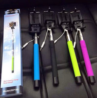 Wholesale 2014 new Audio cable wired Selfie Stick Extendable Handheld Monopod plug and play Cable Take Pole Wired for iPhone PLUS Samsung note
