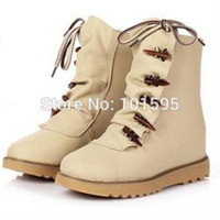 Cheap 2014 Beige Black Blue Color New Novelty Fashion Lace-Up Platform Fashion Boots Martin Boots Warm Shoes Charming