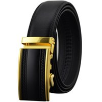 auto lock belt - New year Gifts Auto lock buckle strap fashion belts men belt luxury Black brown Genuine leather belts for men MZ180