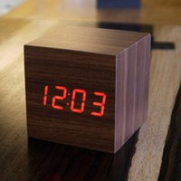 activate desktop - LED cube despertador Digital home electronics Alarm with Thermometer Date Display Vioce Touch Activated watch desktop clock