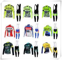 al por mayor prendas de vestir de lana-Saxo Bank Tinkoff equipo Invierno Thermal Fleece ciclismo jersey Ropa ciclismo / mtb bicicleta babero Gel pad Long Pants ropa de ciclismo