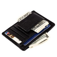 Wholesale Money Clip Genuine Leather Wallet Clamp For Money Design Money Clip Wallet Men Brand Leather Wallet Clip For Money Credit Card Holder Wallet