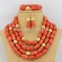 Wholesale Luxury Nigerian Wedding Coral Beads Jewelry Set African Costume Jewelry Sets Coral Necklace Set CN014
