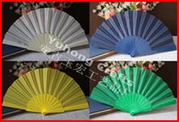 fabric polyester - 70pcs Hand Plastic Fan Polyester Fabric Cloth Solid color Fan For Wedding gift