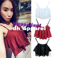spaghetti strap tank top - 2014 New Korean Summer Women s Sexy Ruffle Spaghetti Strap Lace Vest Low cut Lace Shirts Tank Tops