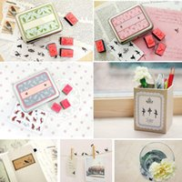 art case for kids - DIY Rubber Stamps Set In Tin Box Case Drawing Art Craft Toy For Kid Child For Album Diary Decoration Scrapbooking Stamp Set