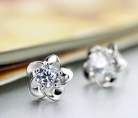 Wholesale Sterling silver Diamond flower earring Anti allergic classic silver and noble purple Hign quality and