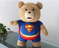 Wholesale Superman Bear Teddy - Superman Teddy Bear Plush Kid Toys 40cm Soft Stuffed Cloth Animal Doll Christmas Toys For Kids