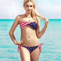 Wholesale Hot Selling Fashion Steel Bikinis Set American Flag Bikini Swimwear YY006