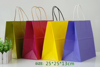 Cheap Free shipping! High quality 25x25x13cm shopping paper bag with handle