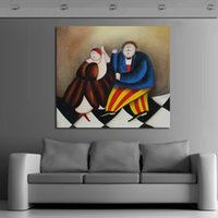 animal fat oil - And Hand painted Pictures On Canvas The Fat Man And Woman Dancing Oil Painting For Room Decor Wall Painting Hang Craft