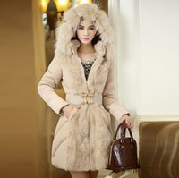 Wholesale 2015 Winter New Arrival Fur Coats for Women Slim Warm Down Cotton Thick Fur Collar Padded Outswear Hooded Jacket Fashion
