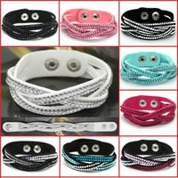 Wholesale Hot Perfect Cross Connect Rhinestone Charm Leather Bracelet Buttons Adjust Size14 Color Choose Gift SL022