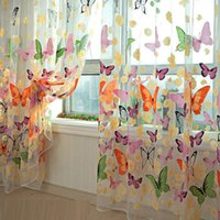 Wholesale 2014 new fashion Butterfly Print Sheer Window Panel Curtains Room Divider