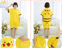 Wholesale 2016 Spring Summer Cosplay Pikachu Cartoon Animal Piece Pajamas Cute Cotton Short Sleeves Men And Women Couple Home Service CC061806