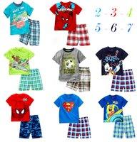 Cheap 2015 Hot sale 100% Cotton baby kids pajamas Spiderman superman Micky Summer kids suits Outfits Cartoon kids pajamas sets LJJD1762 120sets
