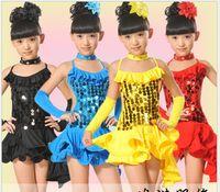 Wholesale 2015 Fashion children dance clothing children s costumes lovely bright skin Latin dance costumes dress girl latin
