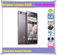 Cheap Lenovo K900 Original Phone Russian Cellphone Ultra Slim Mobile Phone Duad Core 2GHZ 16GB 32GB Intel z2580 CPU
