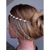 Wholesale 2016 Wedding Dresses Bridal Hair Accessories Tassal Pearl Headdress Chain Headband Silver NZ Hair Jewellery Chains Jewelry mak Handmade jewe