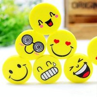Wholesale Cute smiling face eraser emoji eraser smile lovely eraser funny face eraser smile style rubber Kids gift creative stationery