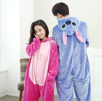 Wholesale New warm Stitch animal cartoon piece pajamas cute couple coral flannel unisex clothes for Christmas gift