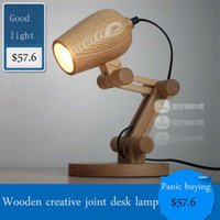 Wholesale Bedroom creative American wooden cartoon retro bar oak small table lamp lovely bedroom small table lamp V V