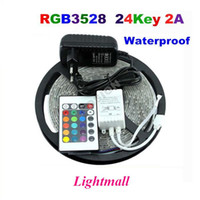 Wholesale Smd Waterproof Strip Lights - LED Strips 5M Set 3528SMD 60led LED Strip Light Waterproof 24Keys IR Remote Controller Power supply Adapter White Red RGB LED strips light