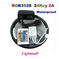al por mayor luz blanca 12v-Tiras de LED 5M 3528SMD Conjunto 60led LED de luz de tira impermeable del controlador remoto IR 24keys Fuente de alimentación Adaptador Blanco / LED rojo / RGB tiras de luz